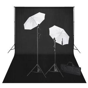vidaXL stúdiófelszerelés 600 x 300 cm-es fekete háttérrel és lámpákkal