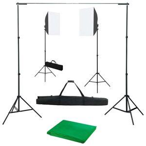 vidaXL fotóstúdió-felszerelés softbox lámpákkal és háttérrel