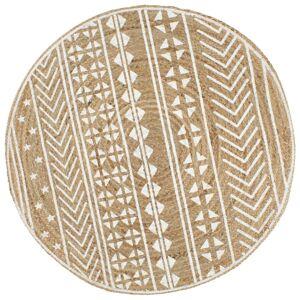 vidaXL kézzel font jutaszőnyeg fehér mintával 90 cm