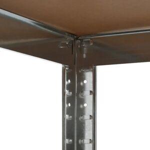 vidaXL ezüstszínű acél és MDF tárolópolc 75 x 75 x 180 cm