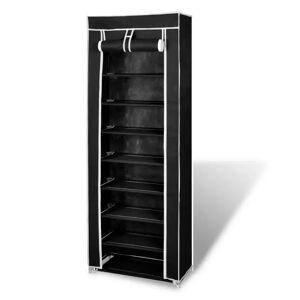 vidaXL Szövet Cipő szekrény borító 57 x 29 x 162 cm-es fekete