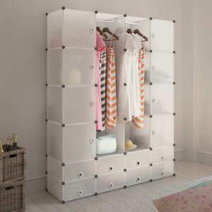 vidaXL moduláris szekrény 18 tárolórekesszel fehér 37 x 146 x 180,5 cm