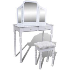 vidaXL 2 fiókos fehér fésülködőasztal 3 az 1-ben tükörrel, zsámollyal