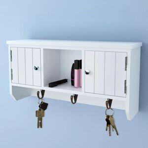vidaXL fali ajtós kulcs- és ékszertartó szekrény kampókkal