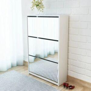 vidaXL 3 szintes fehér cipőszekrény tükörrel 63 x 17 x 102,5 cm