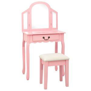 vidaXL rózsaszín császárfa MDF fésülködőasztal ülőkével 65x36x128 cm