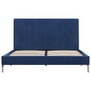 vidaXL kék szövetkárpitozású ágykeret 120 x 200 cm