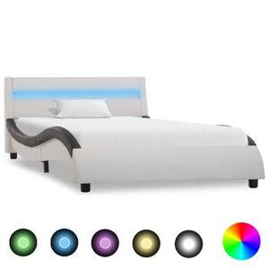 vidaXL fehér és fekete LED-es műbőr ágykeret 100 x 200 cm