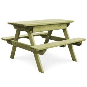 vidaXL FSC impregnált fenyő piknik asztal padokkal 90 x 90 x 58 cm