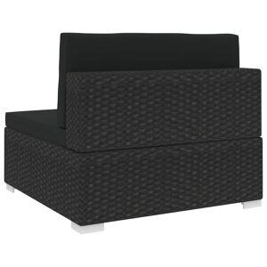 vidaXL 1 db fekete polyrattan moduláris középső kanapé párnákkal
