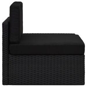 vidaXL fekete polyrattan sarokkanapé-elem bal oldali karfával