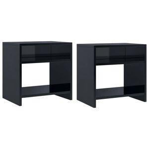 vidaXL 2 db magasfényű fekete forgácslap éjjeliszekrény 40x30x40 cm