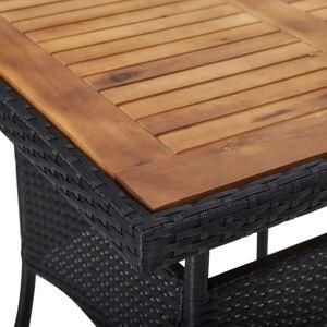 vidaXL fekete polyrattan és tömör akácfa kültéri étkezőasztal