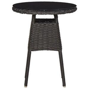 vidaXL 2 db fekete polyrattan kerti szék teázóasztallal