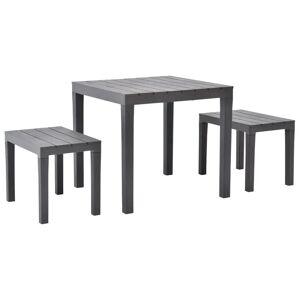 vidaXL barna műanyag kerti asztal 2 paddal