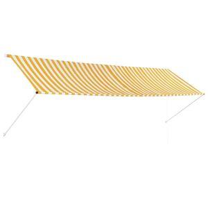 vidaXL feltekerhető sárga és fehér napellenző 400 x 150 cm