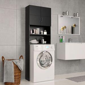 vidaXL fekete forgácslap mosógépszekrény 64 x 25,5 x 190 cm