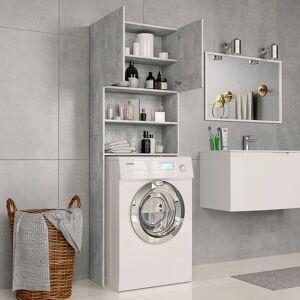 vidaXL betonszürke forgácslap mosógépszekrény 64 x 25,5 x 190 cm