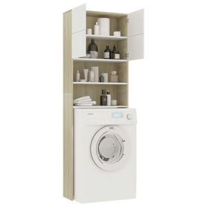 vidaXL fehér és sonoma-tölgy forgácslap mosógépszekrény 64x25,5x190 cm