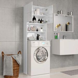 vidaXL magasfényű fehér mosógépszekrény 64 x 25,5 x 190 cm