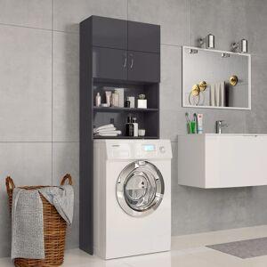 vidaXL magasfényű szürke forgácslap mosógépszekrény 64 x 25,5 x 190 cm