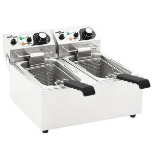 vidaXL 12 literes elektromos rozsdamentes acél dupla olajsütő 4000 W