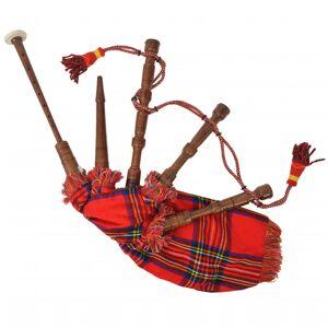 vidaXL Gyerek tanuló skót-duda piros skót-kocka mintájú zsákkal