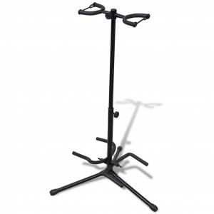 vidaXL Állítható összecsukható állvány dupla gitárnak
