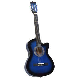 vidaXL kék 6 húros kivágott testű akusztikus western gitár 38