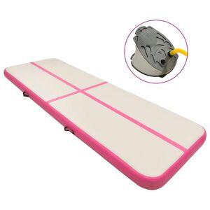 vidaXL rózsaszín PVC felfújható tornamatrac pumpával 500 x 100 x 20 cm