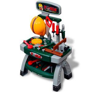 vidaXL Gyerek játék munkaasztal játék szerszámokkal zöld + szürke
