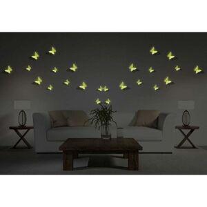 Ambiance Butterflies sötétben világító 3D hatású 12 darabos falmatrica szett - Ambiance