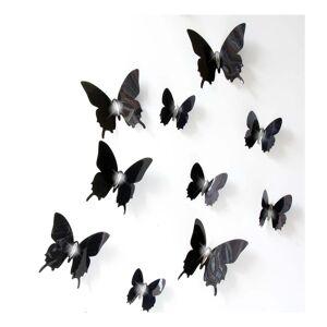Ambiance Wall Butterflies fekete 3D hatású 12 darabos falmatrica szett - Ambiance