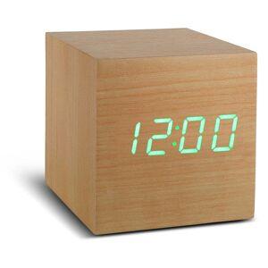 Gingko Cube Click Clock világosbarna ébresztőóra zöld LED kijelzővel - Gingko