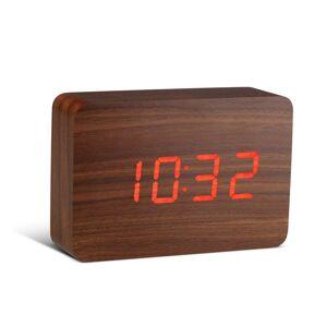 Gingko Brick Click Clock sötétbarna ébresztőóra, piros LED kijelzővel - Gingko