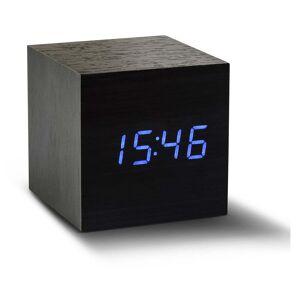 Gingko Cube Click Clock fekete ébresztőóra kék LED kijelzővel - Gingko