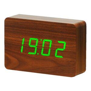 Gingko Brick Click Clock sötétbarna ébresztőóra zöld LED kijelzővel - Gingko