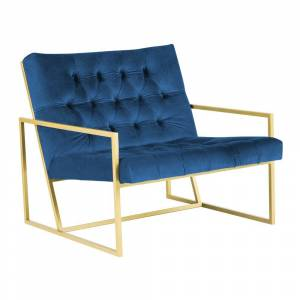 Mazzini Sofas Bono kék fotel aranyszínű konstrukcióval - Mazzini Sofas