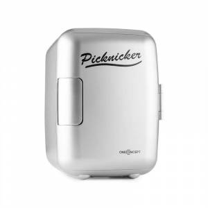 OneConcept Picknicker, ezüst, termodoboz hűtő/melegen tartó funkcióval, mini, 4 l, AC DC, szivargyújtó, eMark tanúsítvány