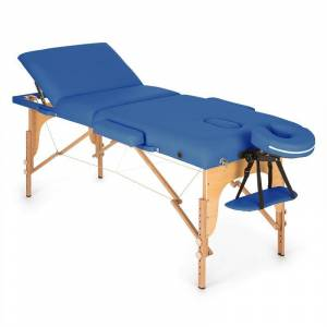 KLARFIT MT 500 masszázságy, 210 cm, 200 kg, összecsukható, finom felület, táska, kék