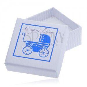 Fehér ajándékdoboz ékszerre - kék gyerekkocsi