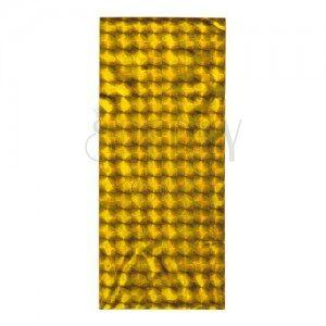 Fényes celofán ajándékzacskó, arany szín, fényes négyzetek