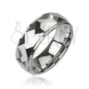 Volfrám gyűrű csiszolt szögletes lapokkal, magas fényesség, 8 mm