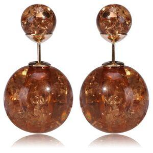 IZMAEL Double Bead Fülbevaló - Barna kristály KP792