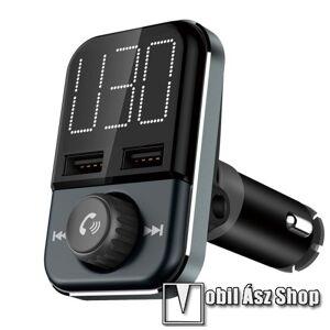 Egyéb BLUETOOTH kihangosító szett - V4.2+EDR, szivartöltőbe tehető, FM transmitterrel csatlakozik autórádióra, beépített mikrofon, LED kijelző, EXTRA USB töltő aljzatok, 5V/3.4A (max) - FEKETE