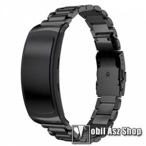Egyéb Okosóra szíj - FEKETE - rozsdamentes acél, speciális pillangó csat - SAMSUNG Galaxy Gear Fit 2 SM-R360 / SAMSUNG Gear Fit 2 Pro SM-R365