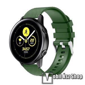 Egyéb Okosóra szíj - szilikon, rombusz mintás - ZÖLD - 130mm-től 200mm-es méretű csuklóig ajánlott, 90mm + 105mm hosszú, 20mm széles - SAMSUNG SM-R500 Galaxy Watch Active / SAMSUNG Galaxy Watch Active2 40mm / SAMSUNG Galaxy Watch Active2 44mm