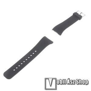 Egyéb Okosóra szíj - FEKETE - szilikon, 19,5cm hosszú és 2cm széles - SAMSUNG Gear Fit 2 SM-R360 / Samsung Gear Fit 2 Pro SM-R365