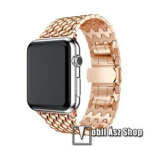 Egyéb Fém okosóra szíj - ROSE GOLD - 175mm hosszú, 21mm széles - Apple Watch Series 1/2/3 38mm / APPLE Watch Series 4 40mm / APPLE Watch Series 5 40mm - ACÉL
