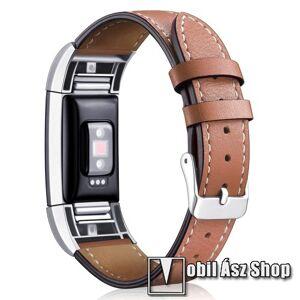 Egyéb Okosóra szíj - BARNA - valódi bőr, 90mm + 105mm hosszú, 22mm széles - Fitbit Charge 2